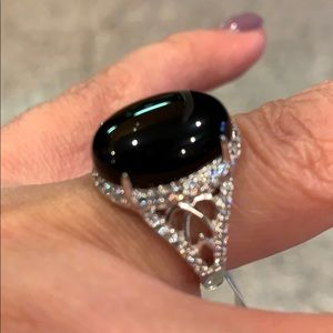15x11mm black Onyx Oval Engagement Ring